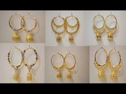 gold jhumka hoop earrings 22kt 916 gold circular hoop earrings with jhumka