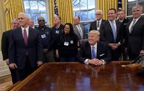 trump u0027s u0027america first u0027 meeting with ceos labor leaders sends