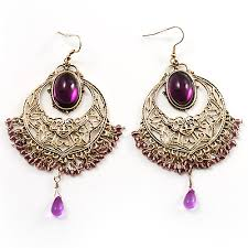 Costume Chandelier Earrings Purple And Gold Chandelier Earrings Thesecretconsul Com