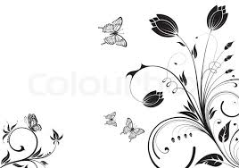 flower background with butterfly and wave pattern element for