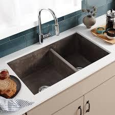 double bowl kitchen sink farmhouse double bowl concrete kitchen sink native trails