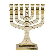 menorah 7 branch branch 12 tribes of israel menorah in gold and ivory