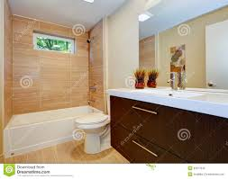 Newest Bathroom Designs Modern New Bathroom Design With Sink And White Tub Stock Photo