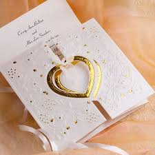 Wedding Invites Online Romantic Gold And White Heart Folded Wedding Invitations Iwzd01