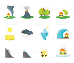 cartoon natural disaster color icons set vector stock vector art