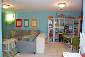 modern nice design of the blue playroom that has modern lamp