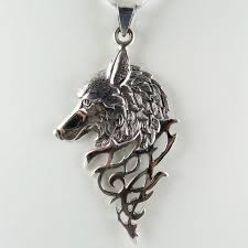 wolf necklace pendant images Large sterling silver wolf pendant with triangular drop jpg