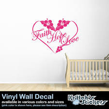wall decals stickers home decor home furniture diy faith hope love hibiscus flower heart vinyl wall decal quote room art f028 w