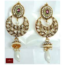 Buy Kundan Embellished Dangler Earrings Buy Kundan Earrings Jhumkas Drops Danglers Tops Polki Pearl Stones