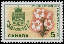 white garden lily quebec postage stamp canada