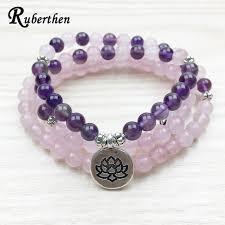 rose stone bracelet images Ruberthen designer lotus charm bracelet 108 mala necklace 6mm jpg