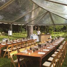 intimate backyard wedding clear top tent rustic farm tables