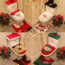 Santa Claus Rug Toilet Seat Cover Bathroom Set Snowman Merry