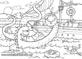 Sea Monster Free Coloring Page The Coloring Pages