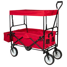 Cart by Folding Wagon W Canopy Garden Utility Travel Collapsible Cart