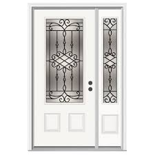 Jeld Wen Interior Doors Home Depot by Jeld Wen 52 In X 80 In 3 4 Lite Sanibel Primed Steel Prehung