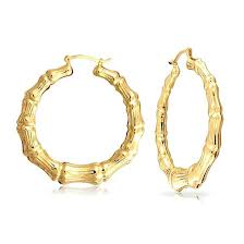 14kt gold earrings 14kt gold bamboo earrings 14k yellow gold bamboo hoop earrings