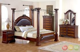 Neo Renaissance King Poster Canopy Bed Wood Bedroom Furniture Set - Black canopy bedroom furniture sets