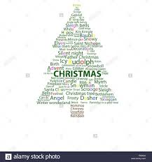 christmas word association in the shape of a christmas tree colour