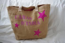 sac en toile personnalisable petit cabas toile de jute orange motif main de fatma dorée sacs