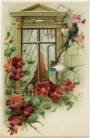 vintage postcard image fashioned greeting card bird flower
