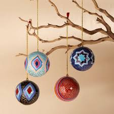 kashmiri hand painted ornaments set of 4 vivaterra