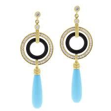 turquoise drop earrings lagos diamond onyx and turquoise drop earrings at 1stdibs