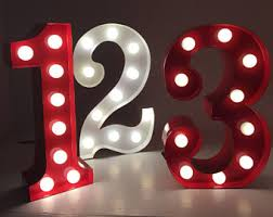 marquee numbers with lights light up numbers etsy