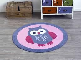 kinderzimmer teppich rund velours kinder teppich eule blau rosa rund 100 cm 101941 teppiche