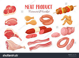 gastronomic meat products cartoon style vector stock vector