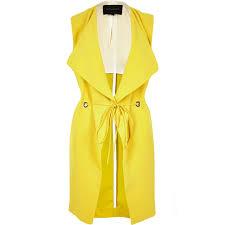 river island yellow sleeveless longline eyelet jacket in yellow lyst