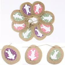 rabbit banner rustic linen bunny easter bunting with cotton tails rabbit banner