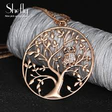 owl necklace rose gold images Owl pendant tree of life environmental alloy 60cm chain 3 jpeg