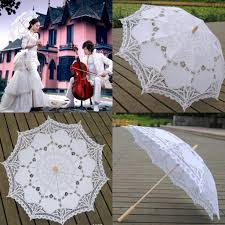 2015 handmade lace parasols white umbrella wood handle sun beach