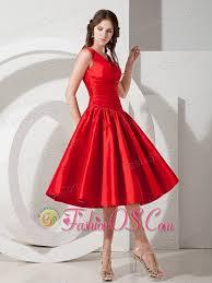 sweet red a line princess v neck evening dress tea length