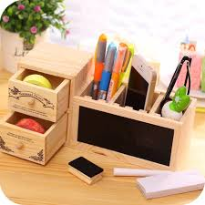 Organizer Desk Wooden Pen Holder With Blackboard Desktop Pencil Holder