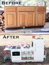 upcycled kitchen cabinets to play kitchen i added some handmade