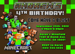 minecraft birthday invitations minecraft birthday invitations minecraft birthday invitations