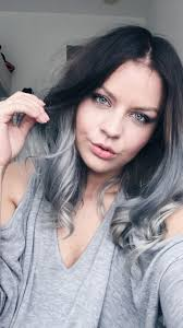long bob with dipped ends hair ash brown roots silver grey balayage greyhair ombré lob long