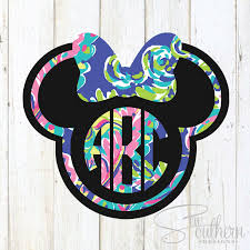 minnie mouse monogram lilly minnie mouse outline monogram decal sew southern designs
