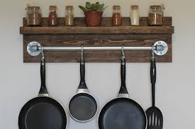 Kitchen Wall Shelves Rustic Industrial Kitchen Pot Rack Gifts For Him Wall Shelf