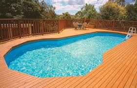 pool top notch backyard landscaping decoration using oval white