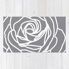 Rose Area Rug Rose Area Rug Modern Flower Rug Grey Area Rug Nursery