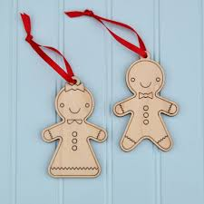 gingerbread wooden christmas ornaments set of 2 graphic spaces
