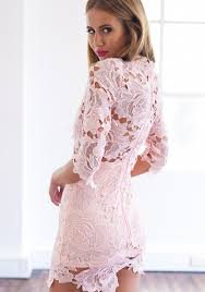 light purple lace bodycon dress light pink 3 4 sleeve high neckline lace bodycon dress by mura