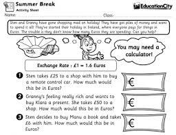 using maths worksheets to teach students basic financial skills