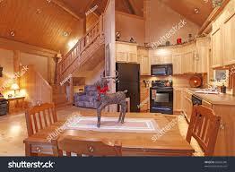 log cabin dining room living room stock photo 68532340 shutterstock