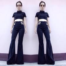 High Waist Bell Bottom Jeans Women U0027s Black White High Waisted Flared Bell Bottom By Endorphyn