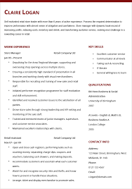 Resume Manager Example Cv In Retail Sales Assistant