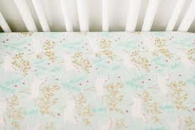 mint and gold crib sheet unicorn crib sheet gold baby sheet